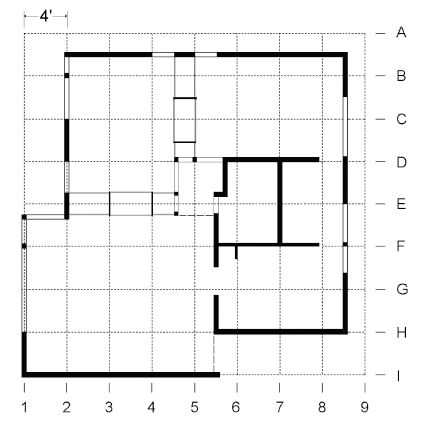 Plan of the Schindler Shelters, showing the relationship of the layout to the 4 foot module. Re-drawn from the original by Jin-Ho Park.