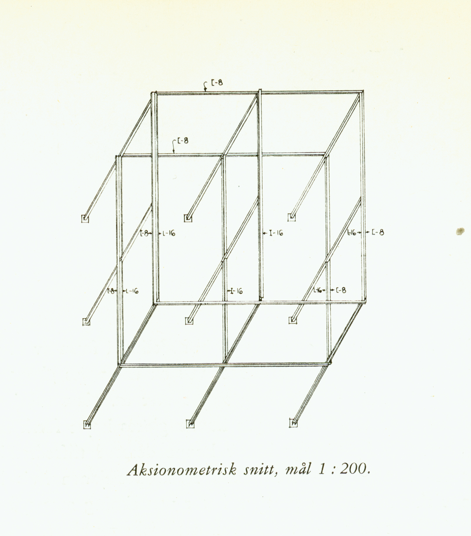 Norberg-Schulz and Korsmo attempted to pass off their wooden building as a steel structure by using diagrammatic axonometric drawings (14) and details of steel mock ups supported by wood (15). As published in _Byggekunst_, n.7 (1955).