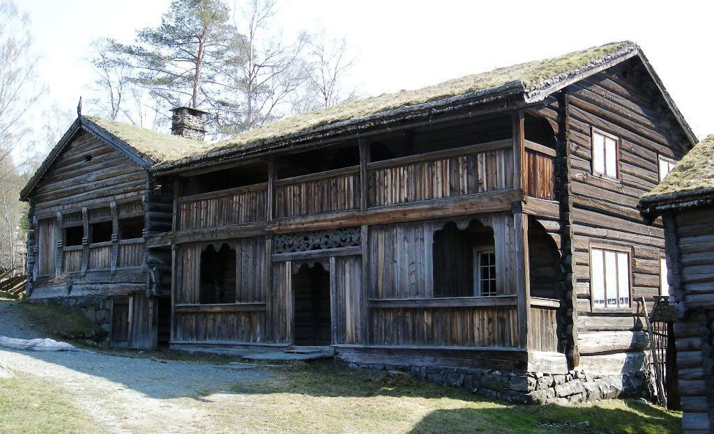 """Svalgang"", exterior gallery on traditional Norwegian timber house."