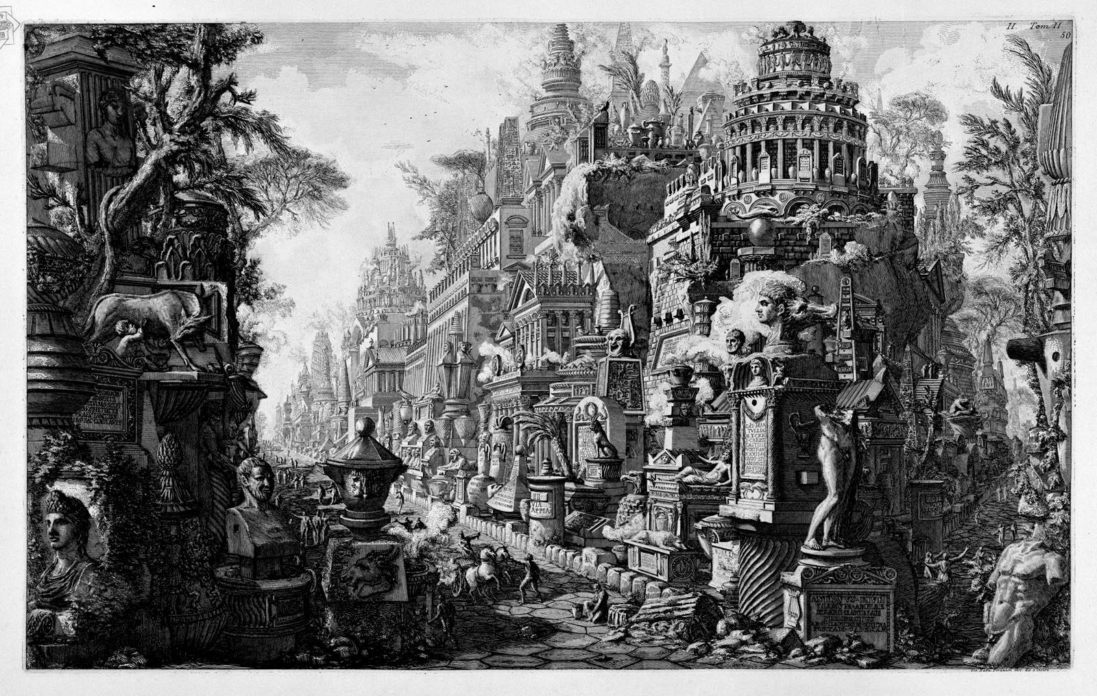 """Appian Way"", Giovanni Battista Piranesi's frontispiece for ""La antichità romane"", 1784."