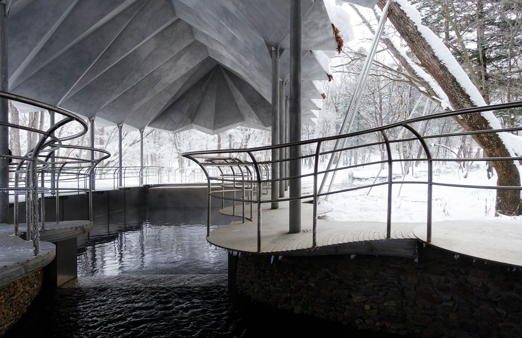 The water source is located in a protected forest, and the position of the pathway and the structural points had to be approved by local conservation authorities. Photo: Jensen & Skodvin