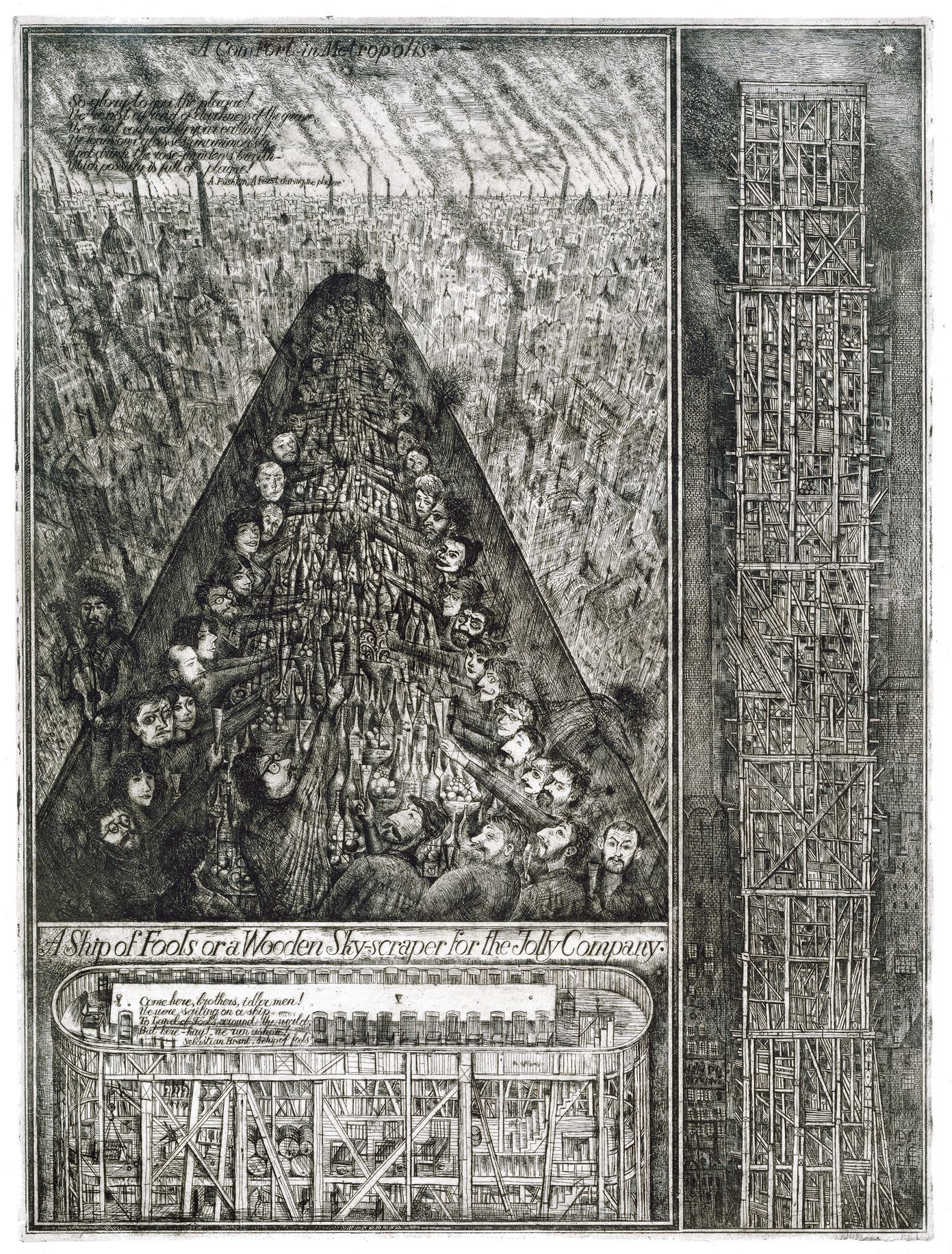 "Alexander Brodsky and Ilya Utkin: ""Ship of Fools or a Wooden Skyscraper for the Jolly Company"", 1988-90. Etching, 74 x 55 cm. From ""Comfort in the Metropolis"", Sinkenchiku Competition 1989. Courtesy of Feldman Gallery, NY."