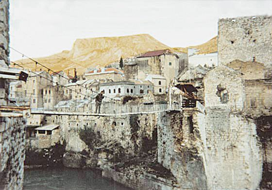 The town of Mostar in Bosnia after the destruction of the bridge in 1993.