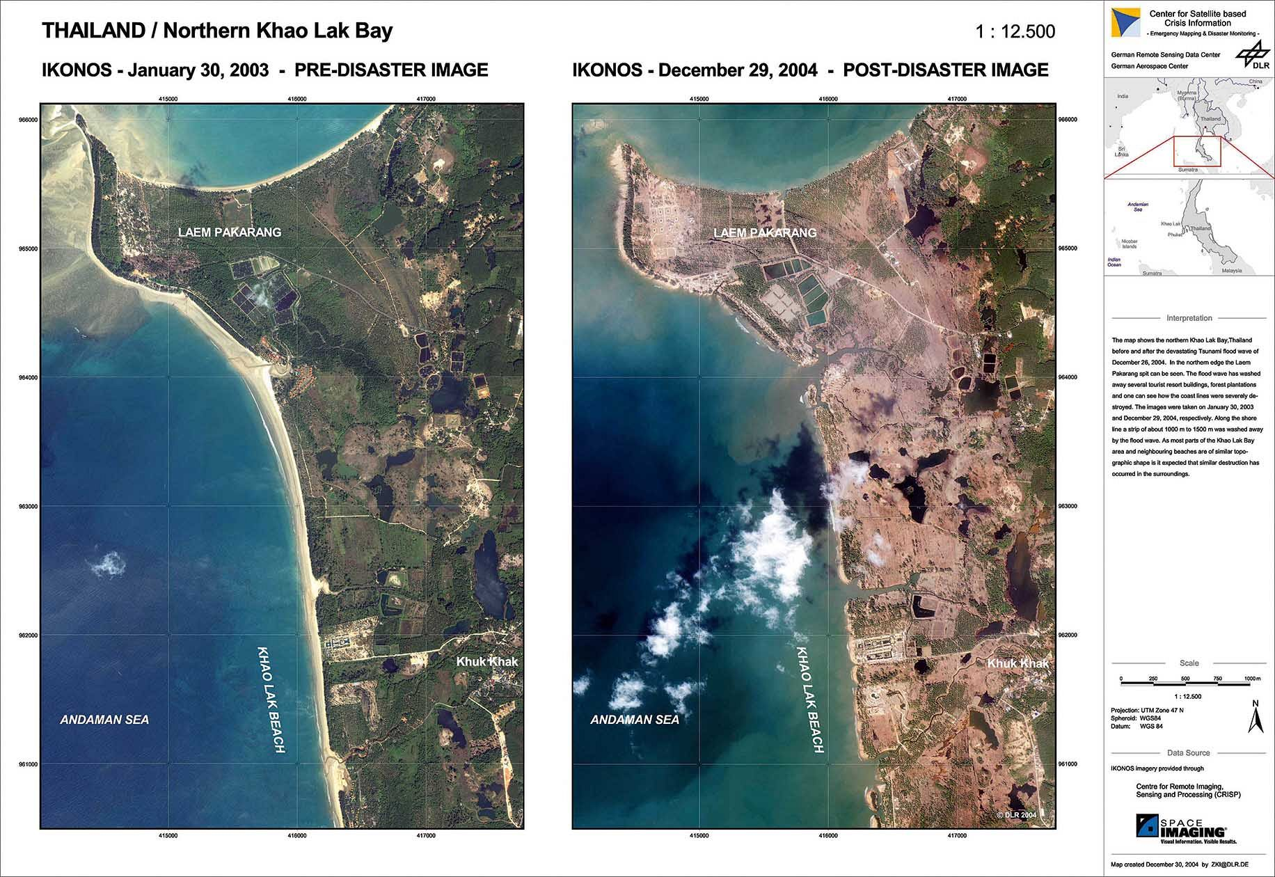 Khao Lak, Thailand before and after the tsunami in 2004. _Photo: German Remote Sensing Data Centre, DLR._
