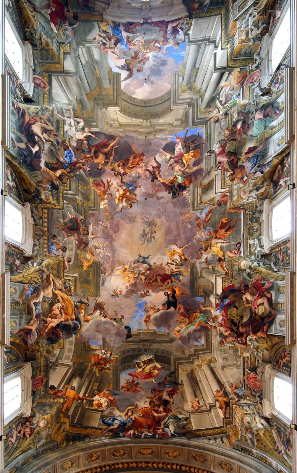 Trompe l'oeil ceiling fresco by Andrea Pozzo, 1694. The ceiling is completely flat. From the Church of Sant'Ignazio, Rome, by Orazio Grassi, 1626. Photo: Bruce McAdam/wikimedia