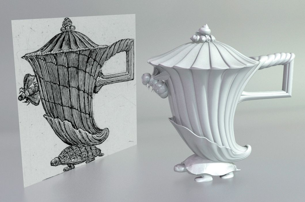 Silver coffee pot as designed by Piranesi, Rome 1769. Piranesi's drawing and a digital model constructed as part of the fabrication process. Photo: Factum Arte