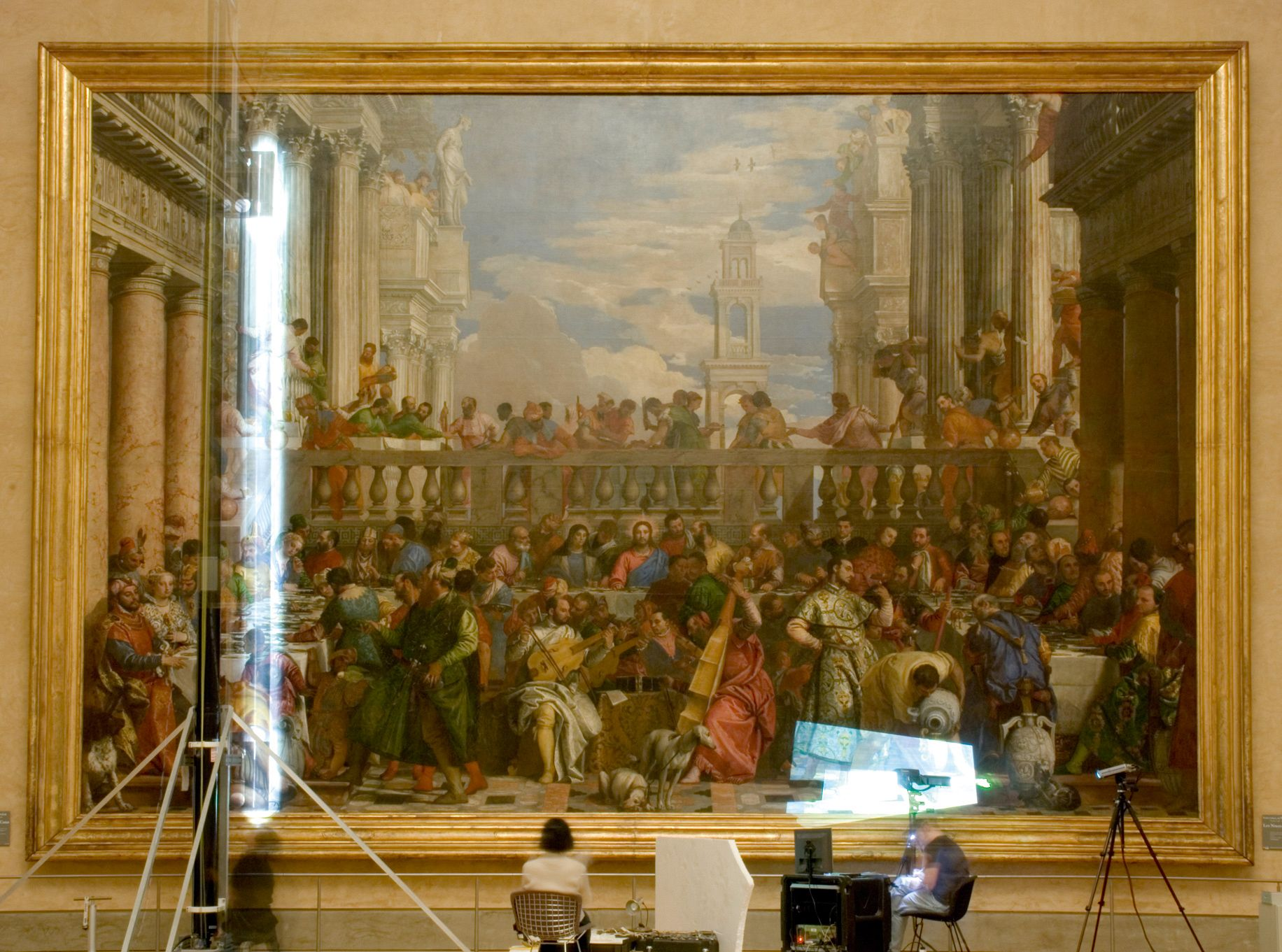 A time lapse photograph of Factum Arte's team recording the original Veronese painting in the Louvre. Photo: Grégoire Dupond/Factum Arte