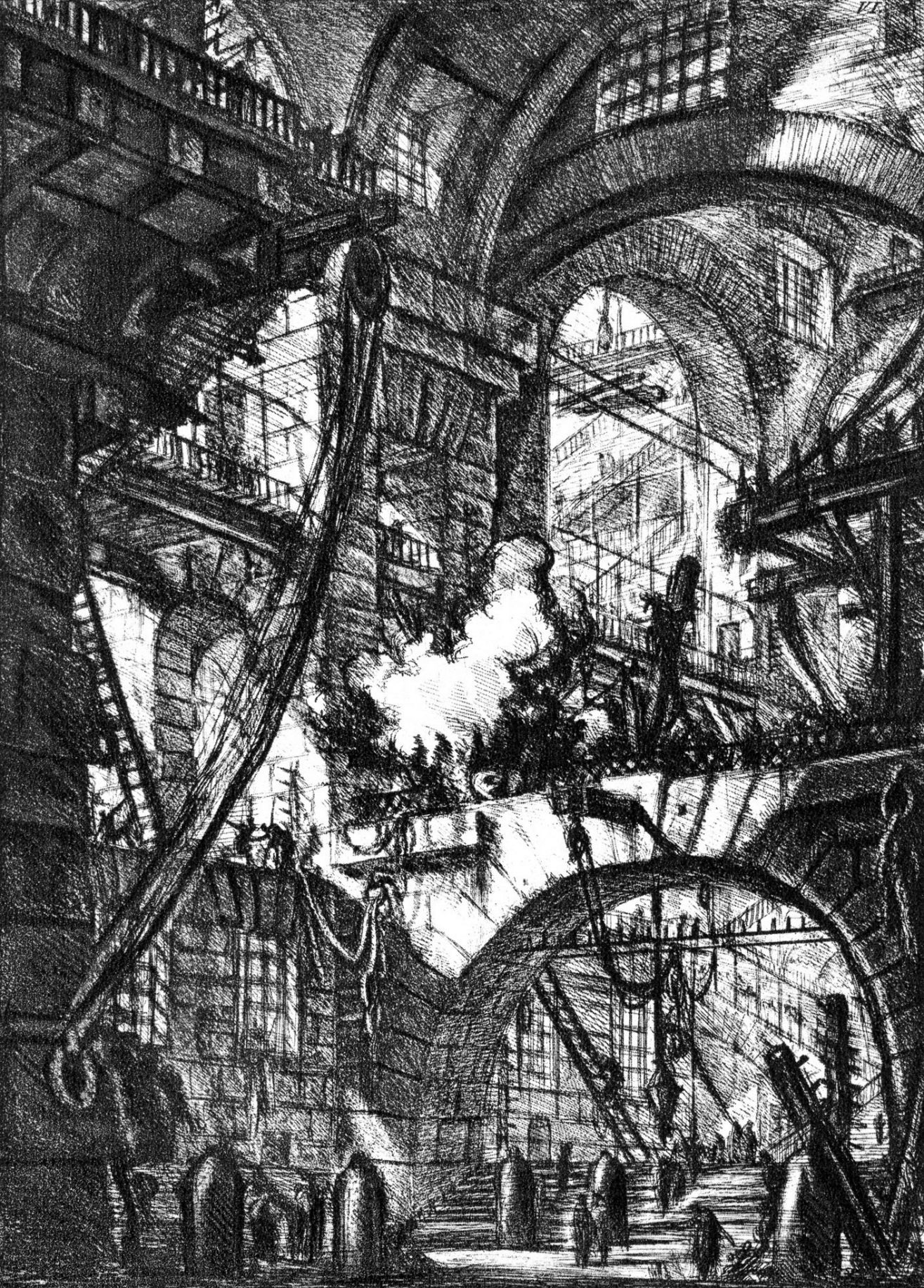 "Giovanni Battista Piranesi: Untitled etching called ""The Smoking Fire"", plate VI of 16 from the series Le Carceri, Rome, 1761 edition, reworked from 1745. Photo: Wikimedia commons"