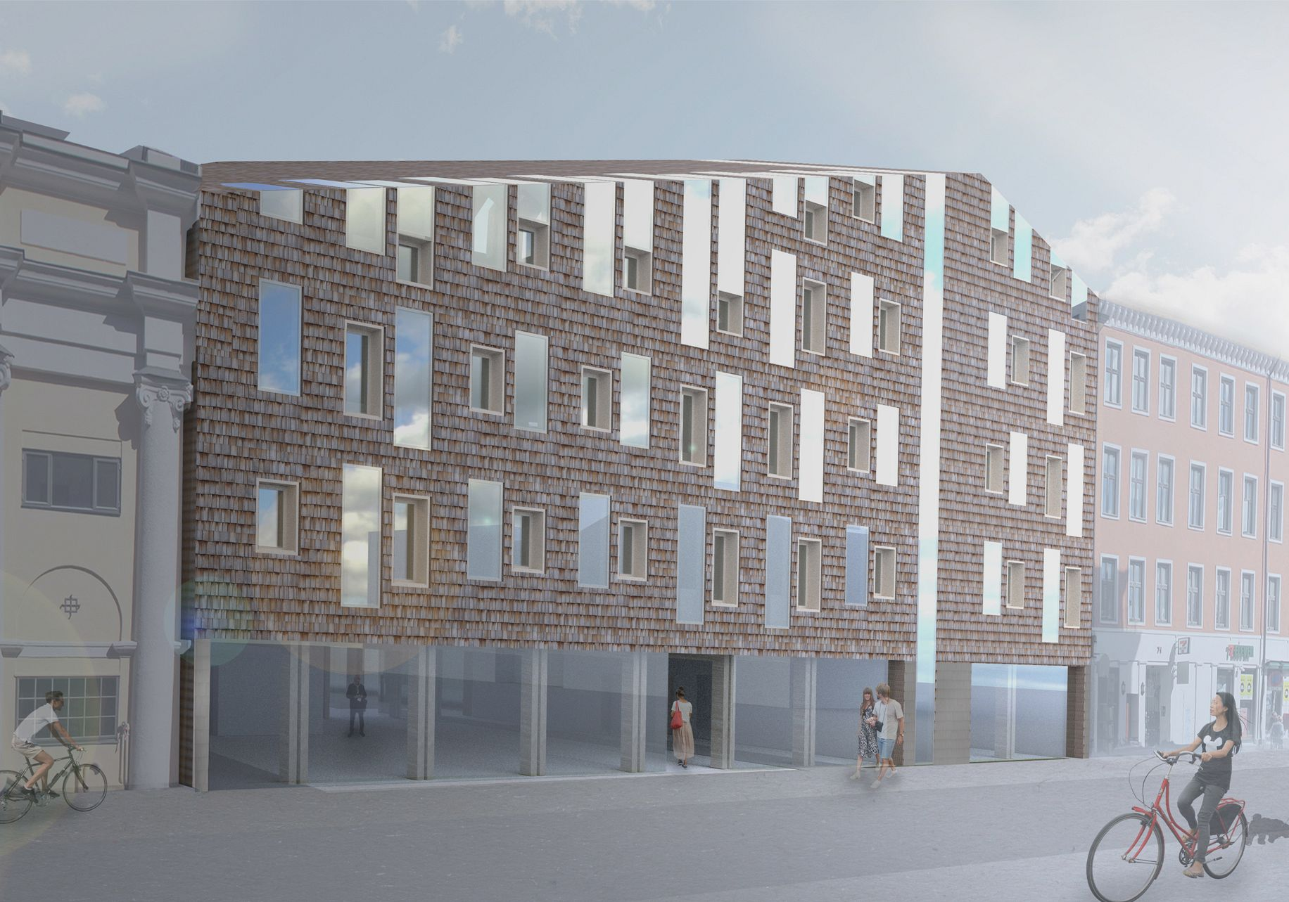 A flexible timber building with high density. The facade is open at street level.